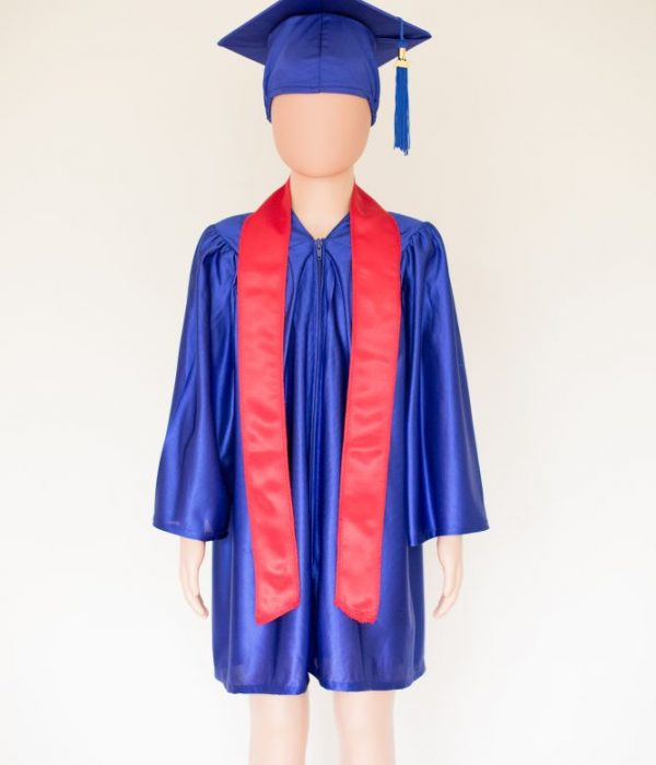 Pre School Cap and Gown Royal Blue with Red stole